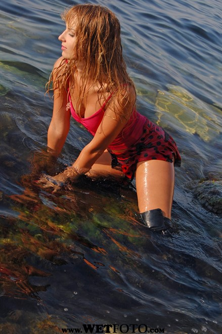 wet girl wet hair get wet swim fully clothed top mini skirt jackboots high heels fully soaked lake