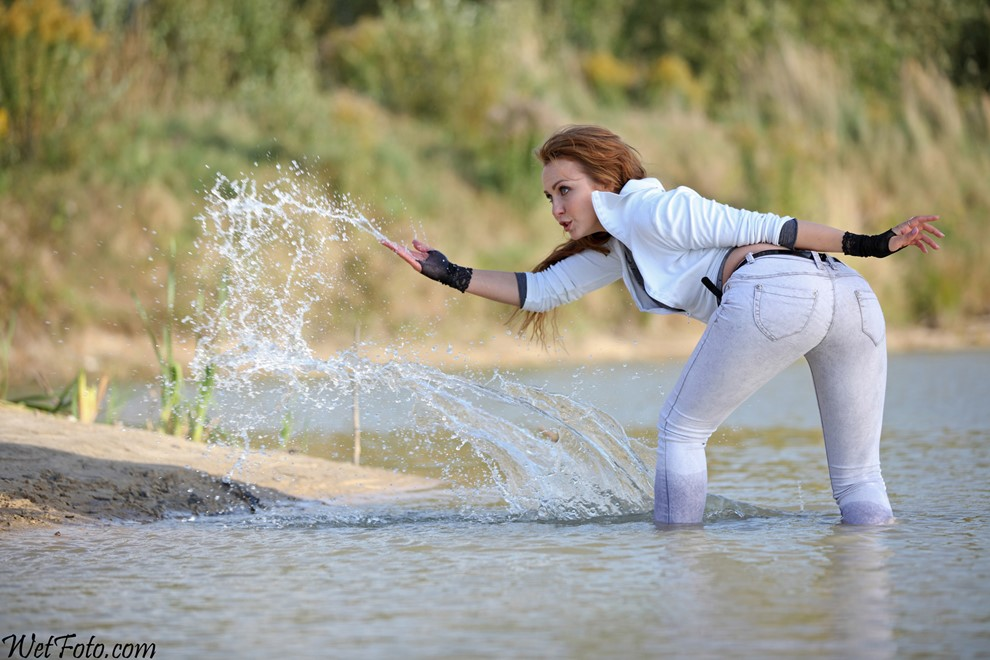 wet girl get wet wet hair swim fully clothed jacket tight jeans blouse evening gloves high heels shoes lake