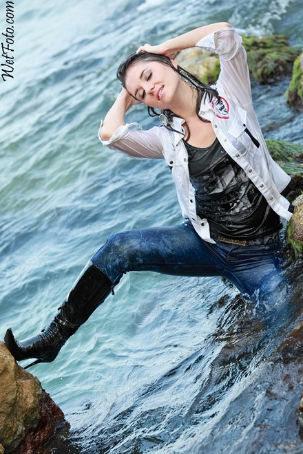 wet girl get wet wet hair swim fully clothed leather jacket jeans t-shirt patent leather high heels boots sea