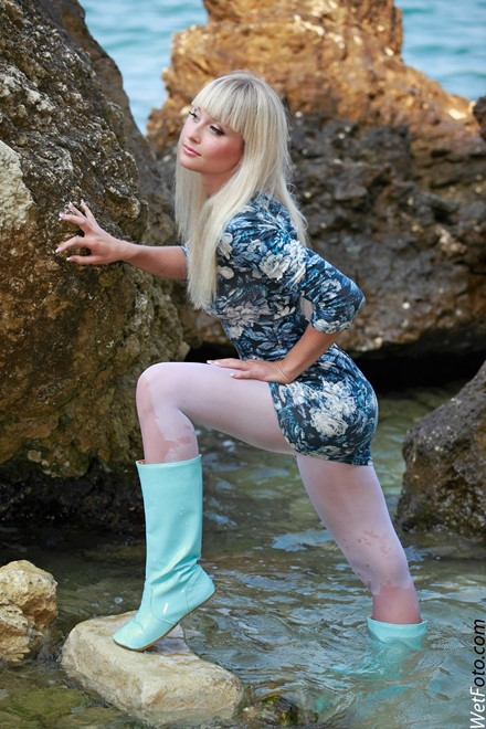 wet girl get wet wet hair dress tights leather boots sea