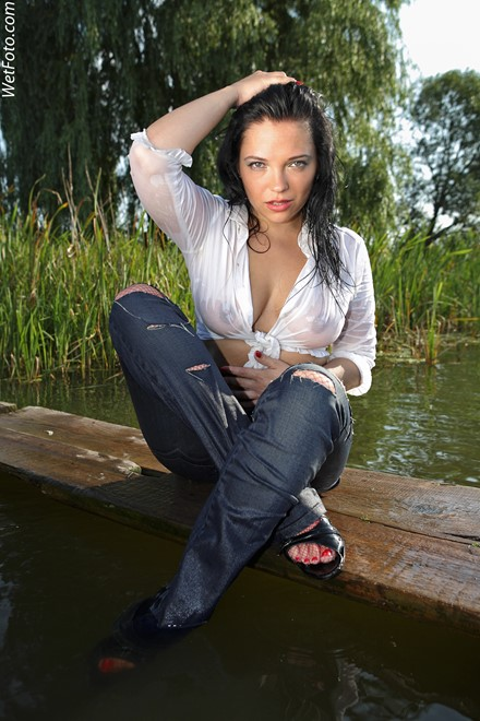 brunette wet girl get wet wet hair swimming fully clothed jeans shirt fishnet stockings high heels sandals lake