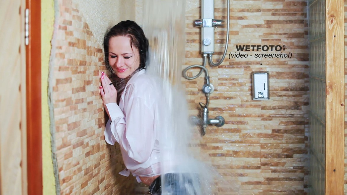 wet girl get wet wet hair jacket blouse tight jeans tights high heels jacuzzi