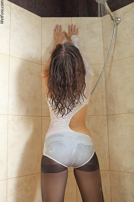 wet girl get wet soaking wet denim jacket tights swimsuit pointe shoes