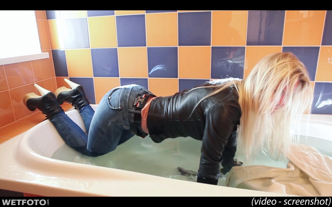 wet girl get wet fully clothed wet hair leather jacket tight jeans gloves high heel boots bath
