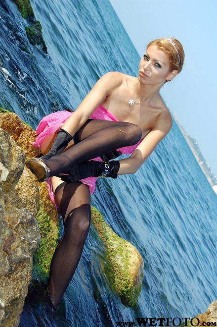 wet girl get wet swim fully clothed cocktail dress stockings evening gloves stockings high heels shoes sea