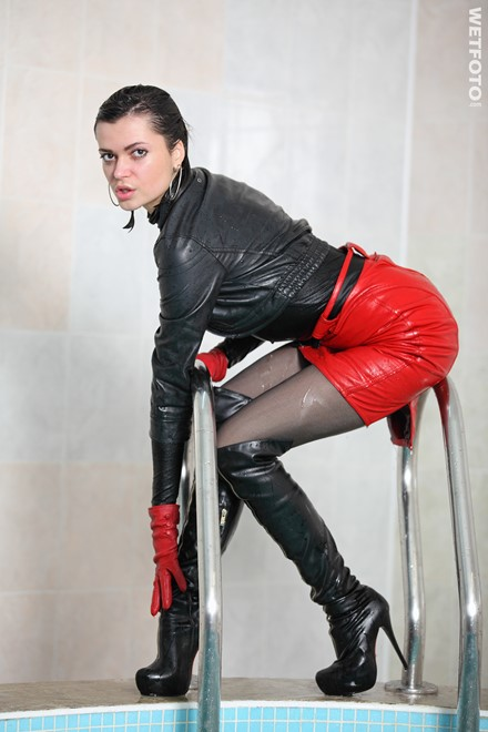wet girl get wet wet hair swim fully clothed leather skirt jacket blouse gloves stockings boots high heels