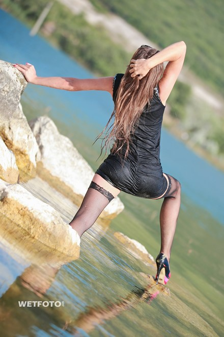 wet girl get wet wet hair swim fully clothed dress stockings high heels shoes lake