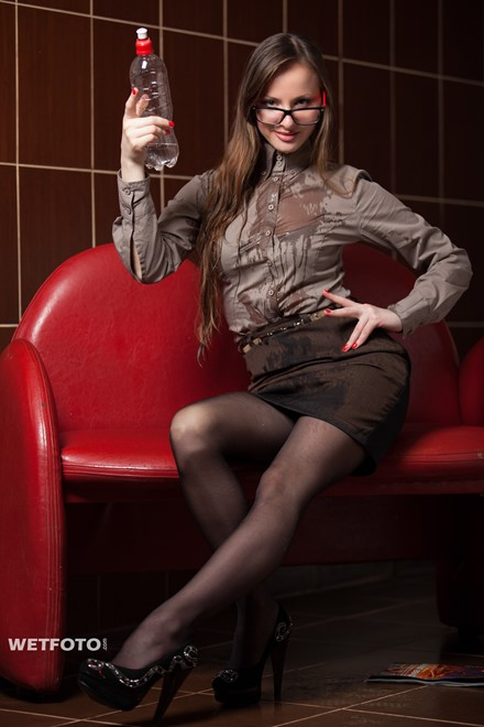 wet girl get wet wet hair fully clothed blouse skirt stockings high heels jacuzzi