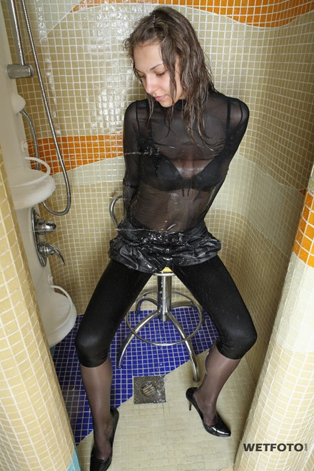 wet girl get wet wet hair leggings stockings skirt blouse high heels