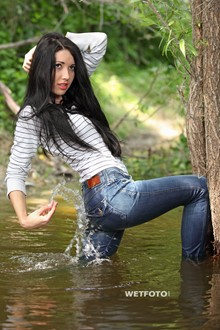 #265 - Wetlook by Beautiful Girl in Striped Sweater, Tight Jeans and High Heels by The River