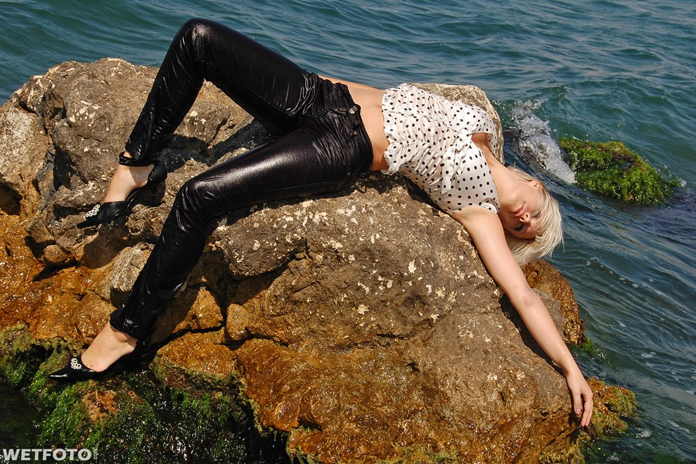 wet girl get wet blouse pants high heels swim fully clothed wet hair sea