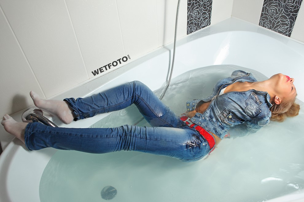 wet girl get wet jacket jeans denim socks wet hair fully clothed jacuzzi