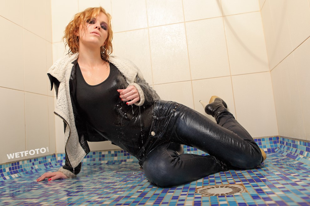 wet girl get wet wet hair swim fully clothed leather jacket tight jeans gloves high heels boots pool shower