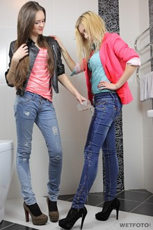 #288 - Wetlook by Two Beautiful Girls in Wet Jeans and High Heels in Bath
