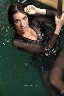 #290 - Hot Brunette in Sexy Leather Dress and Stockings Get Soaking Wet in Pool