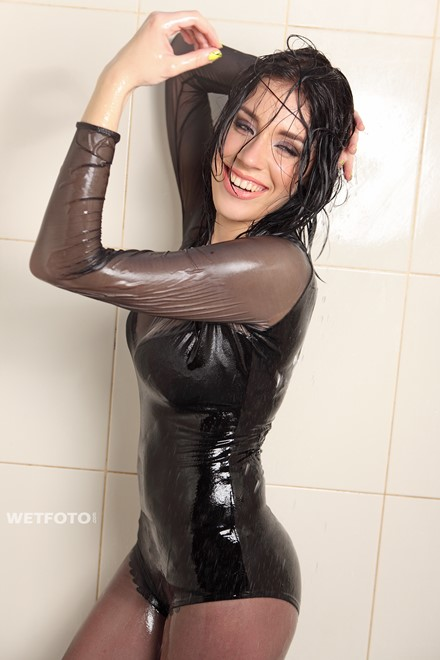 wet girl get wet wet hair swim fully clothed leather dress bodysuit stockings pool
