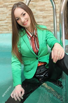 #292 - Wetlook by Girl in Jacket, Classic Pants and High Heels in Jacuzzi