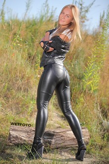 #300 - Wetlook by Sexy Blond in Leather Jacket, Leggings and High Heels