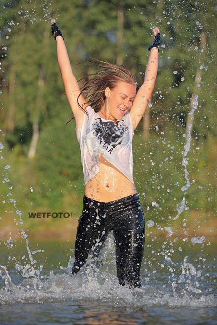 wet girl get wet swim fully clothed wet hair leather jacket leggings high heels