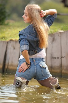 #304 - Soaking Wet Girl in Denim Jacket, Short Shorts, Tights and Sneakers
