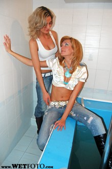 #31 - Wetlook by Two Cool Girls in Tight Jeans, Blouses and Boots in Jacuzzi