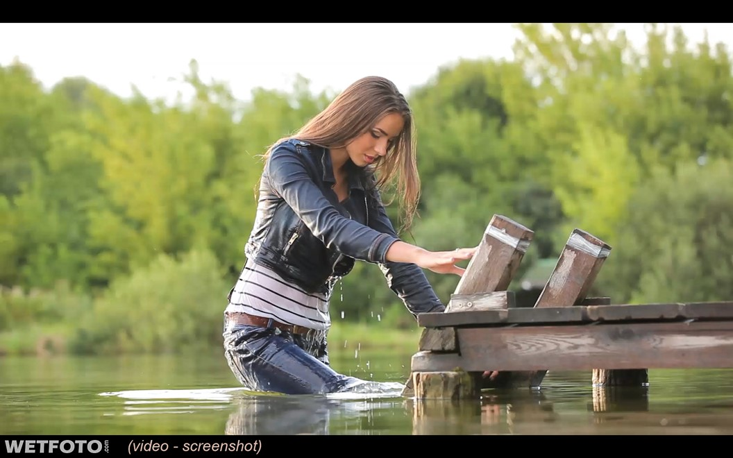 wet girl wet hair get wet t-shirt jacket denim jeans tights high heels swim fully clothed lake