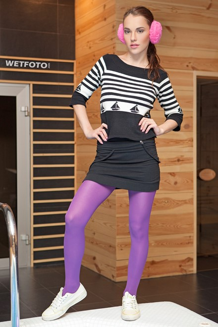 wet girl wet hair get wet blouse mini skirt swimsuit tights sneakers fully soaked spa