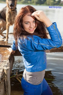 #316 - Wetlook Experience by Girl in Leather Jacket, Tight Pants and Shoes on the Lake