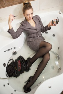 #318 - Full Wet Business Lady in Classic Suit, Tights and High Heels Meeting in Bath