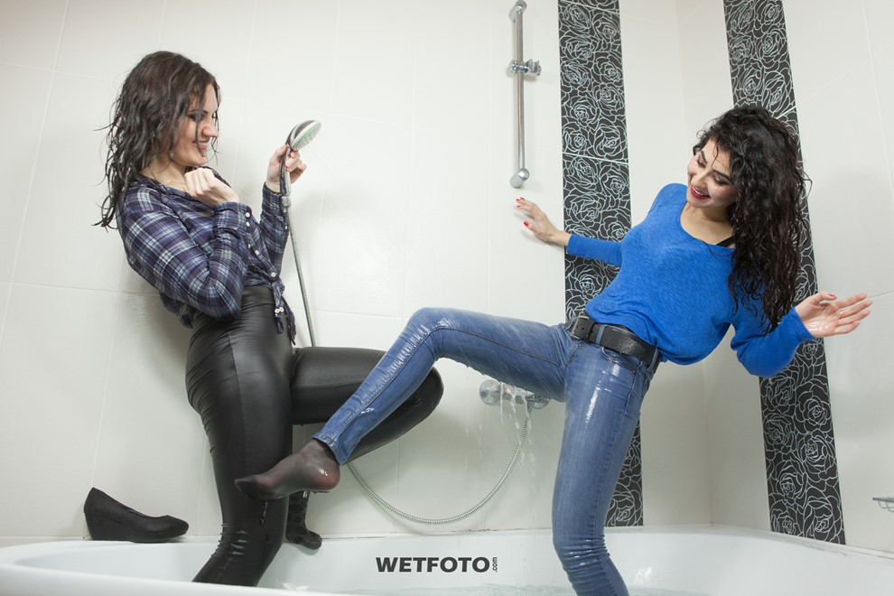 wet girl wet hair get wet leggings shirt skinny jeans sweater tights fully clothed jacuzzi