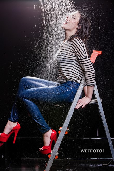 wet girl wet hair get wet striped sweater high-waisted jeans high heels fully soaked hose