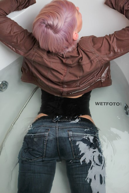 wet girl get wet bodysuit jacket tight jeans high heels fully soaked jacuzzi bath