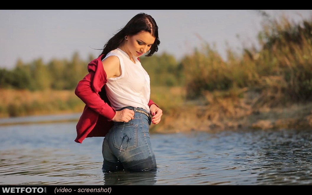 wet girl wet hair get wet cardigan blouse sneakers fully soaked swim fully clothed lake
