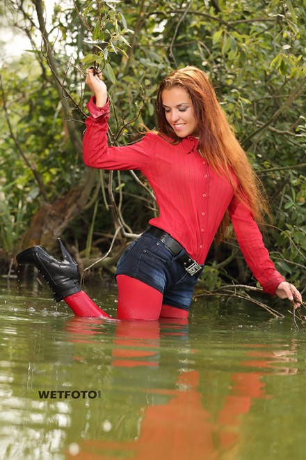 wet girl wet hair get wet blouse denim shorts stockings high heels boots swim fully clothed lake
