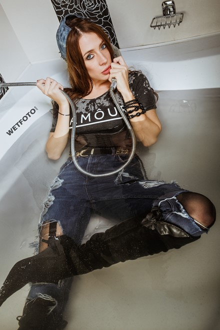 wetfoto girl takes a bath high waisted jeans bodysuit tights boots