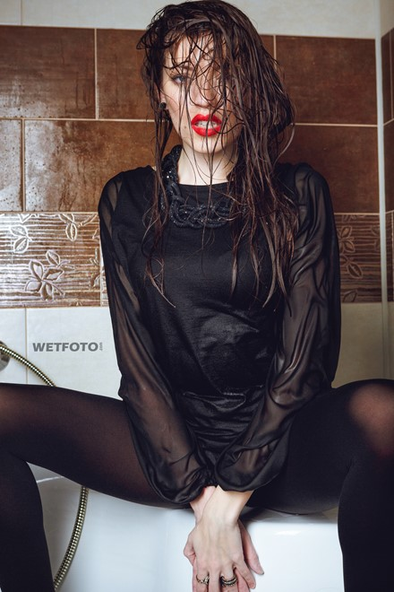 wet girl wet hair get wet blouse skirt stockings high heels shoes fully soaked bath