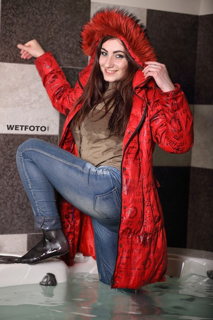 wet girl fully clothed get wet soaking wet blouse anorak tight jeans tights jacuzzi