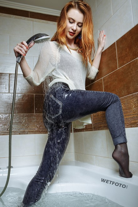 wet girl wet hair get wet fully clothed sweater shirt tights tight jeans high heels jacuzzi shower