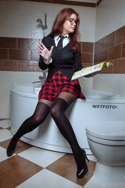 wet girl wet hair get wet fully clothed outfit jacket shirt skirt stockings shoes high heels bath shower