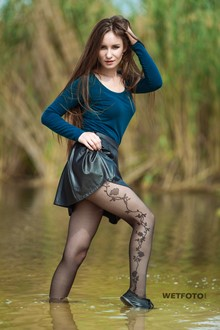 #376 - Wetlook by Cute Girl in Soaking Wet Leather Skirt, Stockings and Sneakers