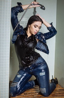 #381 - Wetlook by Brunette Girl in Denim Jacket, Jeans and High Heels in Jacuzzi