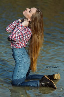 #383 - Swimming by Beautiful Girl in Soaking Wet Blue Jeans and Shoes on Lake