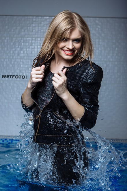 wet girl get wet photo water swimming pool clothes leather jacket shoes wet hair soaked shower