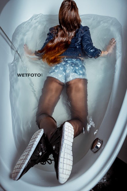 wet girl wet hair get wet denim jacket t-shirt shorts stockings sneakers fully soaked water bath shower