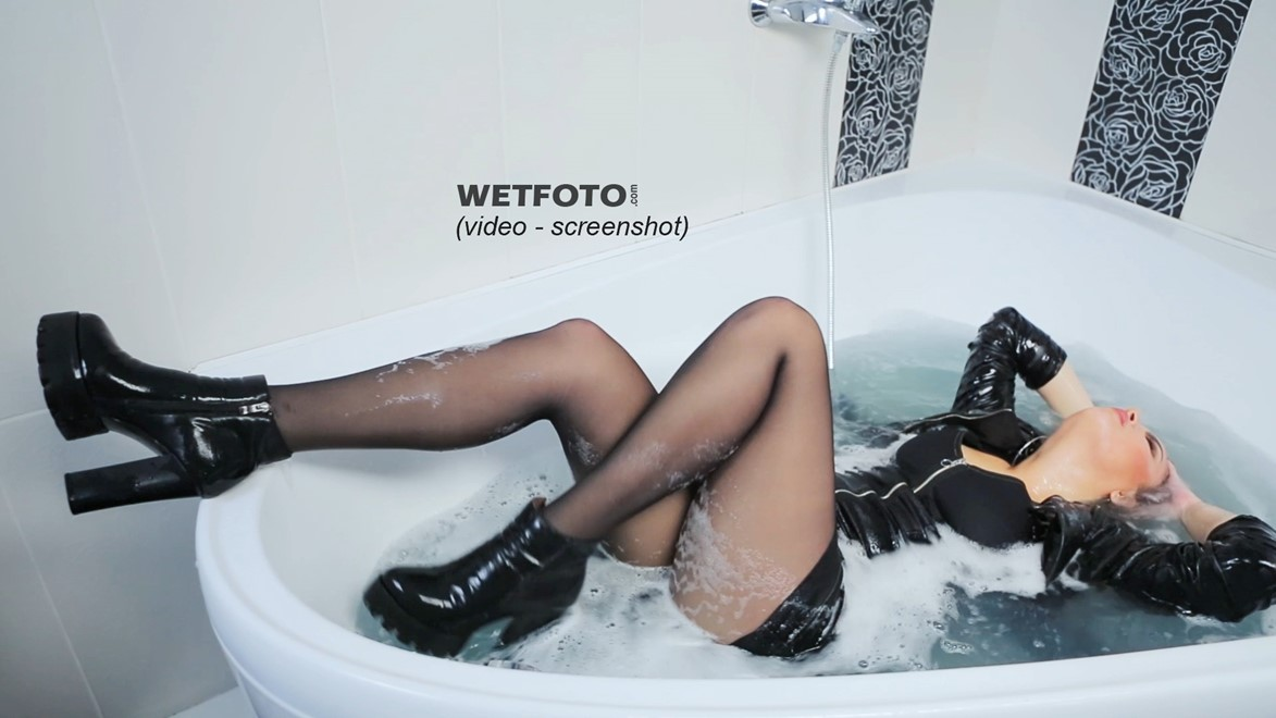 wet girl wet hair get wet denim dress tights fully soaked jacuzzi bath