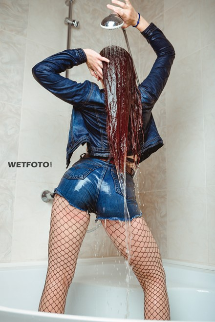 wet girl wet hair jeans jacket top high waisted shorts fishnet tights bath
