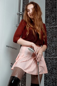 #417 - Wetlook by Soaking Wet Professional Model in Blouse, Mini Skirt and Tights in Bath
