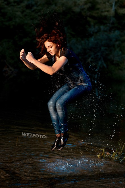 wet girl wet hair get wet  jumpsuit pantyhose t-shirt bodysuit fully soaked water bath shower