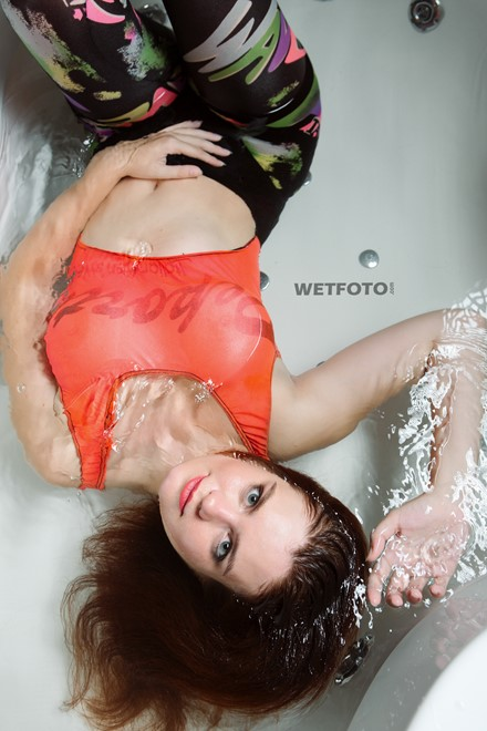 wet girl wet hair get wet bodysuit socks leggings fully soaked water bath shower