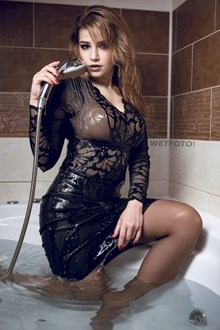 #454 - Fully Clothed Wetlook Model in Sexy Outfit Got Soaking Wet in Bath